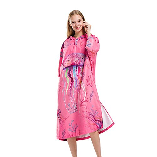 Asffdhley Poncho Toalla Cambiante con Capucha Toalla de Baño Robe Robe Para Mujer Para Playa, Surf, Natación Triatlón