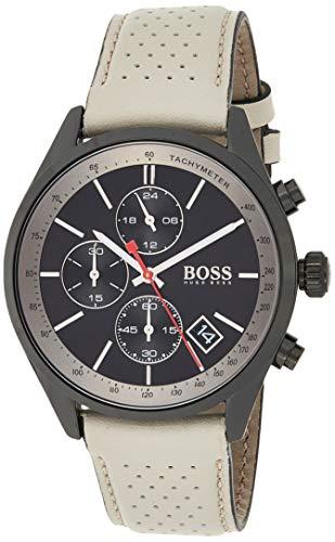 Hugo BOSS Reloj Cronógrafo para Hombre de Cuarzo con Correa en Cuero 1513562, Gris