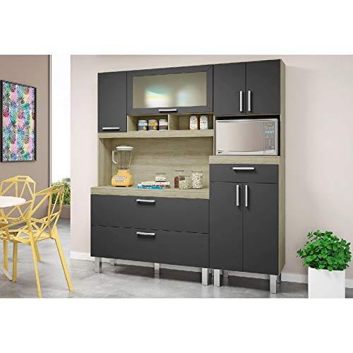 Armário de Cozinha 8 Portas 1 Gaveta Luisa Movemax Carvalho Tx/Preto Fosco