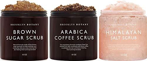 Brooklyn Botany Brown Sugar Body Scrub, Coffee Scrub and Himalayan Salt Scrub – Exfoliating Body Scrub – Anti Cellulite Scrub Helps Fight Stretch Marks, Cellulite, Veins, and Eczema –Gift for Women