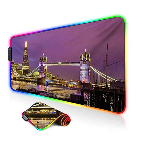 RGB Gaming Mouse Pad Mat,Tower Bridge in London at Night Historical Cultural Monument Europe British Urban Non-Slip Mousepad Rubber Base,35.6'x15.7',for Game Players,Office,Study Purple Yellow