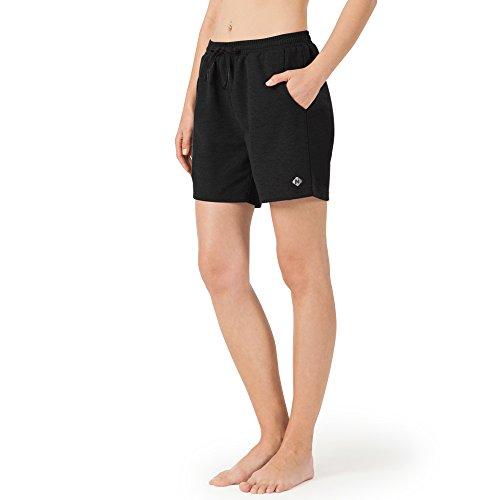 "NAVISKIN Pantalones Cortos 5"" Deportivos para Mujeres Bolsillos Elástico Transpirable Ligero Training Running Fitness Yoga Pilates Negro XXL"