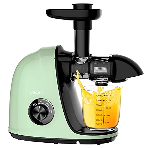 Juicer Machines, Jocuu Slow Masticating Juicer Extractor Easy to Clean, Soft/Hard Dual-Speed Quiet Motor Reverse Function Anti-Clogging, Cold Press Juice Extractor with Brush & Recipes (Light Green)