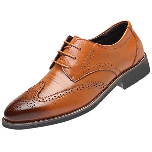 Dorical Lederschuhe Herren,Männer Business Schuhe Hochzeit Schnürhalbschuhe Elegant Oxford Anzug Leder Derby Männer Lackleder Kunstlederschuhe Schwarz Brown 37-48 Sale(Braun,40)