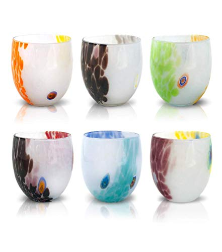 """Mazzega Art & Design Set di 6 Bicchieri da Acqua in Vetro colorato Stile Murano. Modello """"Light""""."""