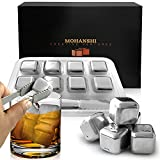 Luxury Whiskey Stones Gift Boxed Set - 8 Reusable Stainless Steel Ice Cubes| Highest Cooling Metal Ice for Coffee,Beverages| Way Better Steel Chilling Stones, Free Tong & Tray| Gift perfect for Men|