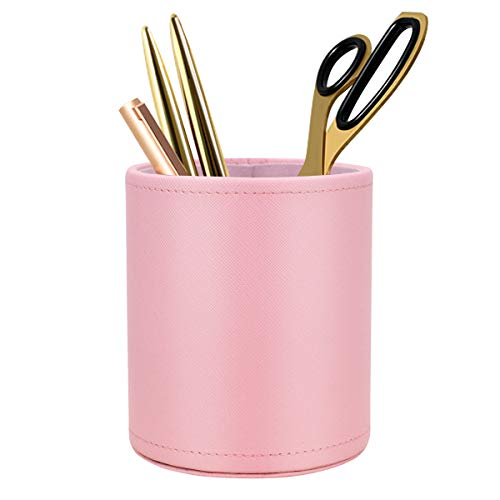 WAVEYU Cute Pen Holder for Girls Kids, Pink Pencil Pen Cup Holder for Desk for Girls, Makeup Brush Holder Large Pu Leather Multi-Functional Organizer Cup, Gift for Office, Classroom, Home, Pink