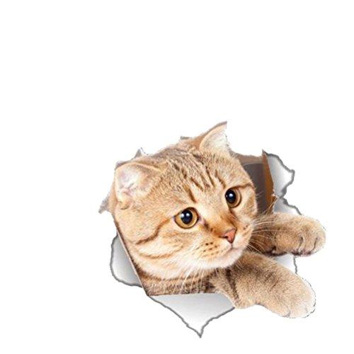 VORCOOL WC Deckel Aufkleber 3D Katze Toiletten Sitz Sticker für Badezimmer Dekoration