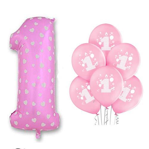 Palloncino Foil Numero 1 Rosa Bambina Primo Festa Compleanno 10 Palloncini
