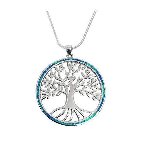 925 Sterling Silver Tree of Life Opal Pendants - Fine Jewellery For Women Girls In Gift Box (Tree of Life - Blue Opal)