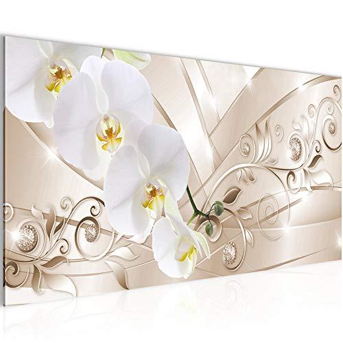 Bilder Blumen Orchidee Wandbild Vlies - Leinwand Bild XXL Format Wandbilder Wohnzimmer Wohnung Deko Kunstdrucke Beige 1 Teilig - MADE IN GERMANY - Fertig zum Aufhängen 209112b
