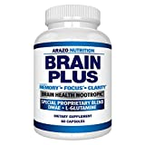Premium Brain Function Supplement  Memory, Focus, Clarity  Nootropic Booster with DMAE, Bacopa Monnieri, L-Glutamine, Multi Vitamins, Multi Minerals - Arazo Nutrition