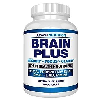 Premium Brain Function Supplement – Memory Focus Clarity – Nootropic Booster with DMAE Bacopa Monnieri L-Glutamine Multi Vitamins Multi Minerals - Arazo Nutrition
