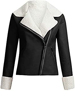 Women's Short Bomber Jacket Coat Fuzzy Fleece Lined Parkars Moto Biker Jacket Long Sleeve Motorcycle Warm Jacket