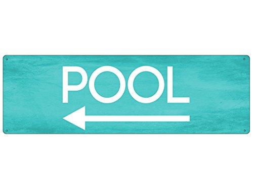 Interluxe METALLSCHILD Blechschild Türschild Pool Links Deko Wellness Wegweiser Urlaub