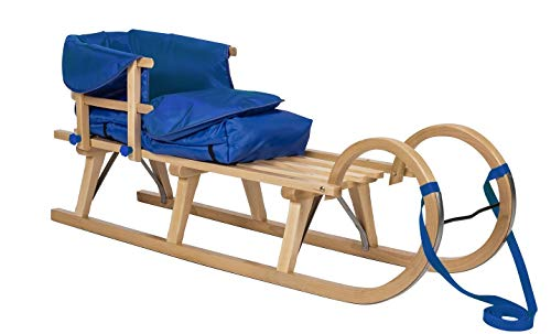 Impag Hörner-Schlitten 115 cm | 125 cm lang | europäisches Buche Massivholz | Sport-Qualität