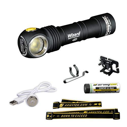 Armytek Wizard XP-L Warmweiß Taschenlampe Magnet USB 18650 Li-Ion Aufladbar Batterie Inklusive 1120 LED Lumens Multifunktion Stirnlampe
