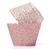 Tazas Conjuntos Porcelana Us 50Pcs Cupcake Wrappers Filigrana Vine Lace Cup Wrap Liners Decoración Del Banquete De Boda, Rosa