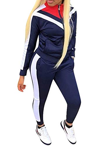 ORANDESIGNE Damen Mode Streifen Trainingsanzug Frauen Lange Ärmel Zipper Top + Lange Hose Sportswear 2 Stück Set Sport Yoga Outfit Dunkelblau DE 36