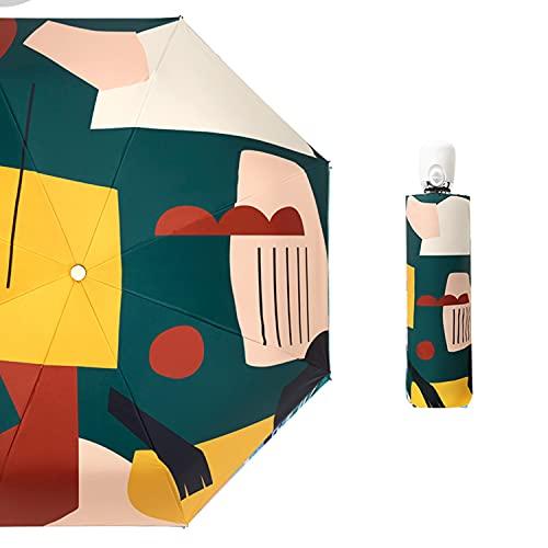 CHUANGRUN Paraguas Automático a Prueba De Viento De Viaje, Paraguas Plegable Portátil Compacto, Paraguas De Lluvia Pequeños Y Ligeros De Apertura/Cierre Automático, Paraguas De Protección UV