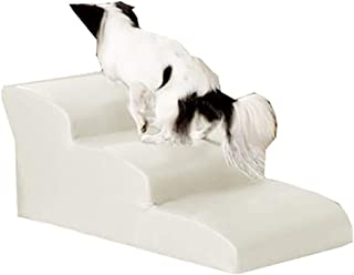 JJJJD Kitten Step Large Pet Slope Dog Stair High Bed and High Sofa, Waterproof PU, Detachable (Color : White, Size : 3 Step)