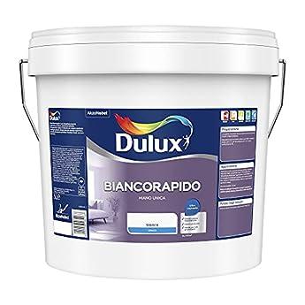 Foto di Dulux Biancorapido Pittura per Interni a Mano Unica Bianco Coprente per Camere Soggiorni, 5 Litri, Bianco