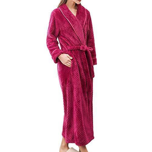 ZYUEER Peignoir Femme Polyester Robe de Chambre Polaire Chaud Long Polyester Peignoir de Bain Homme Eponge Hiver Longue Unisex Pas Cher (L, Rose Vif)
