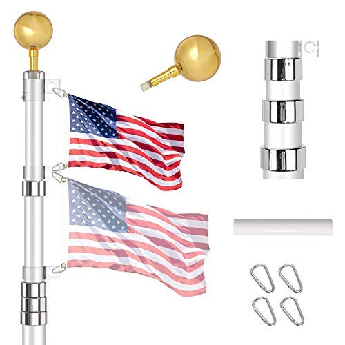 IIOPE Telescoping Flag Poles Kit, 30 FT Heavy Duty Aluminum Telescopic Flagpole with 3x5 American Flag, Outdoor In Ground Flag Pole for Residential, Yard or Commercial, Silver