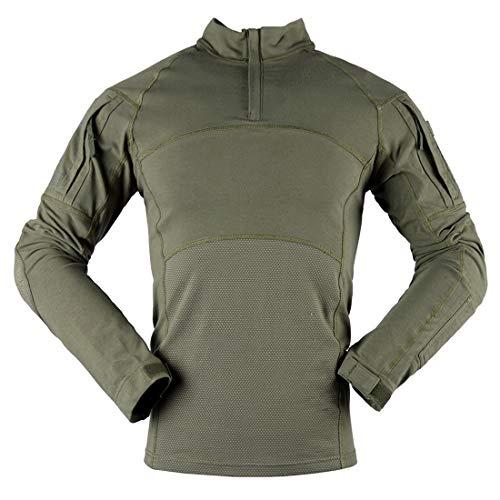 Herren Hemd Tactical Combat Shirt Slim Fit Langarm Army Hemd Bundeswehr T-Shirt Militär Uniform Taktisches T-Shirt 1/4 Reißverschluss Military Shirt mit 2 Taschen Klassische Mode Tops 3XL