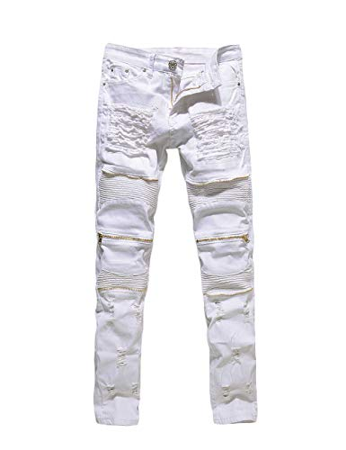 Rexcyril Men's Moto Biker Jeans Distressed Ripped Skinny Slim Fit Denim Pants with Zippers White W32