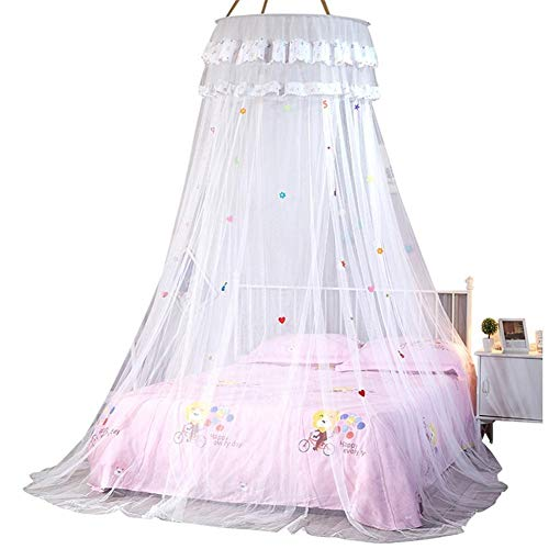 New Enfants élégante Lit Tulle Dôme Bed Netting Circulaire Canopy Rose Ronde Dôme Literie moustiquaire for Twin Queen Lit King (Color : A)