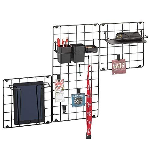 mDesign Set da 3 organizer da parete in metallo – Griglia da parete decorativa per foto, vestiti e accessori – Pannello portaoggetti con accessori inclusi, per corridoio, cucina o ufficio – nero opaco