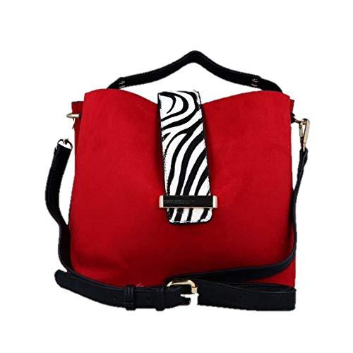 MENBUR 47083 Tasche aus rotem Wildleder mit Zebra-Einsatz