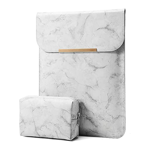 KALIDI 13.3 inch Laptop Sleeve Case Faux Suede Leather for MacBook Air/13 inch MacBook Pro Retina 2017 2016,MacBook 13-13.5 inches + Accessories Pouch,Marble Grey