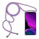 2ndSpring Funda con Cuerda Compatible con Samsung Galaxy A50/A50S/A30S,Colgante Collar Correa de Cuello Cadena Cordón,Arcoiris Azul