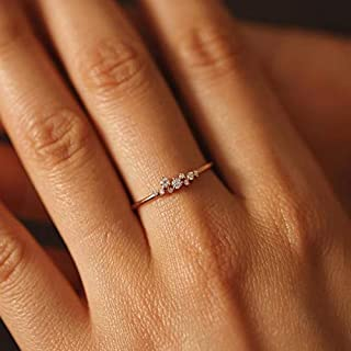 genbz Simple 18k Gold Color Rings for Teen Girls Class Heart White Sapphire Studded Eternity Wedding Ring 925 Sterling Sil...