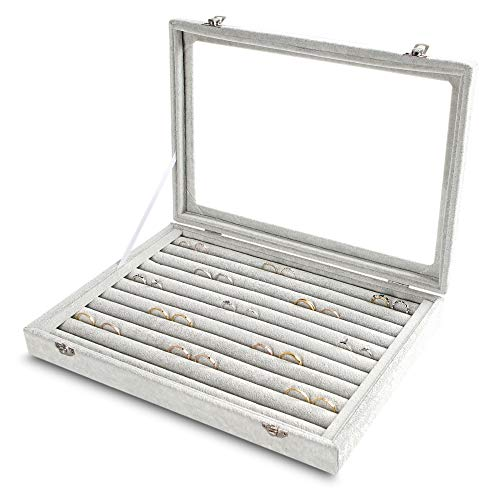 Rings/Earrings Organizer Tray with Clear Lid 10 Slots Velvet Drawer Insert Jewelry Storage box with Transparent Glass lid Jewelry Display Case Store Showcase Box Gifts for Girls Women (Grey, 10 Slots)