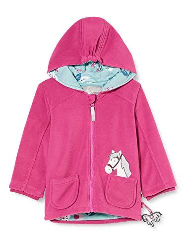 Sigikid Baby-Mädchen Fleecejacke mit Kapuze Größe 062-098 Fleece-Jacke, Pink/Pferd, 80