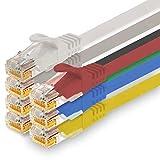 1CONN - Cable de red de 0,25 m, Ethernet, LAN y cable de conexión para máxima velocidad de Internet y conecta todos los dispositivos con conector RJ 45 hembra 7 colores - 7 unidades