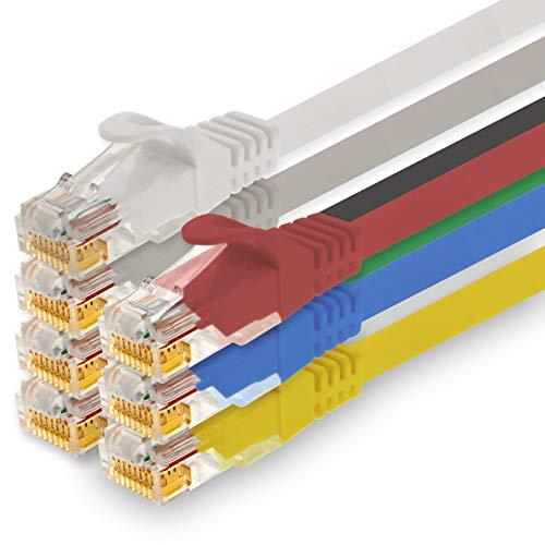 1CONN - 0,25m Netzwerkkabel, Ethernet, LAN & Patchkabel für maximale Internet Geschwindigkeit & verbindet alle Geräte mit RJ 45 Buchse 7 Farben - 7 Stück