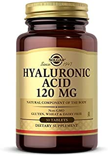 Solgar Hyaluronic Acid 120 mg, 30 Tablets - Supports Hair, Skin & Nails - Contains Hydrolyzed Collagen Type 2 & Chondroiti...