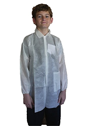 Makerspace Lab Disposable Lab Coats, White, Child Extra Small, 10 Pack