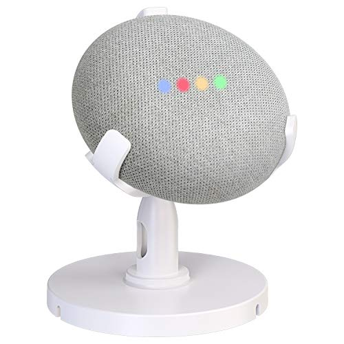 Pobon Table Holder for Google Home Mini Voice Assistants, 360° Adjustable Desktop Stand Mount - Improves Sound Visibility and Appearance, Home Mini Speaker Accessories Pedestal Cradle (White)