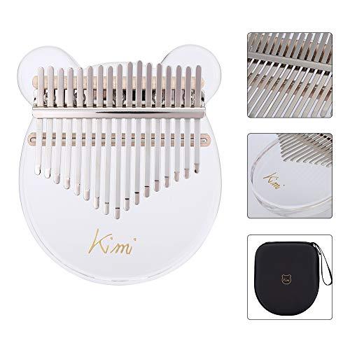 Kimi Acrylic Kalimba 17 Keys Thumb Piano with Tuner Hammer Gig Bag Transparent Cute Cat Thumb Piano Kalimba Mbira