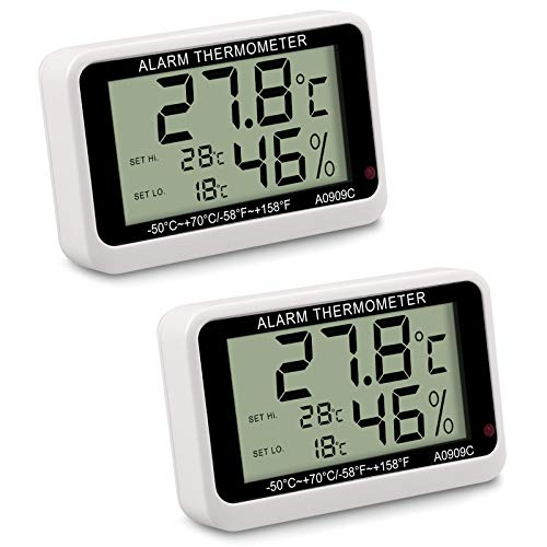 CAMWAY 2PCS Termometro Digitale per Frigorifero, Termometro per Frigorifero Congelatore Impermeabile con Supporto, Display LCD, Termometro Ambiente con Funzione di Allarme di Alta/Bassa Temperatura