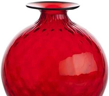 Venini Monofiori Balloton Vaso medio rosso filo verde mela 10016RVVM