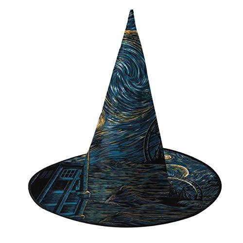 Sombrero de Halloween Starry Gallifrey Doctor Who Tardis Van Gogh Sombrero de Bruja Halloween Disfraz Unisex para Vacaciones Halloween Navidad Fiesta de carnavales
