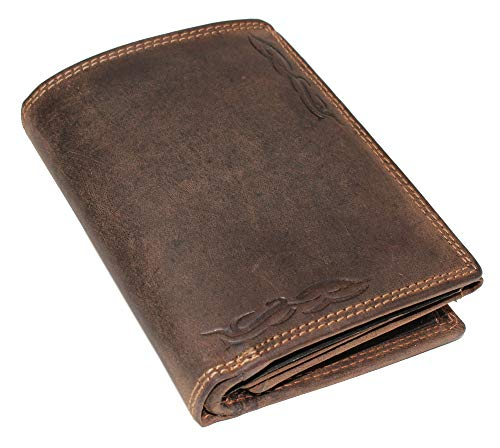 Herren Leder Geldbörse Geldbeutel Portemonnaie Börse Hochformat Büffelleder Tribals Tattoo braun 8700