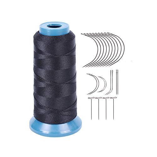 Black Weaving Thread Size 210 D with 12 pcs of 9cm-C Type Needles/Curved hair Needles High Strength Polyster Thread for Sew
