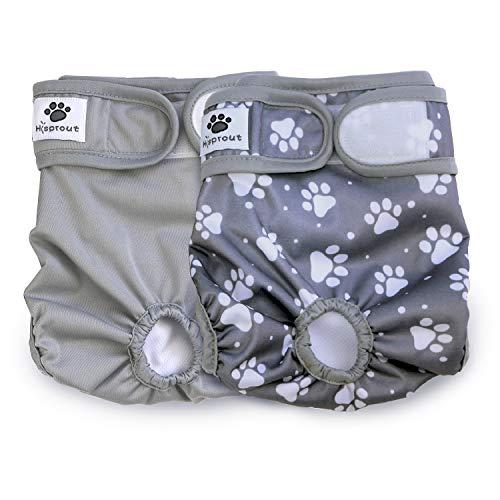 Hisprout weiblich Hund Windel wiederverwendbar waschbar Langlebig Hund Windeln Hose (M, Grey Footprints)